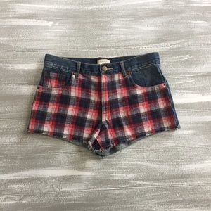 Red White & Blue Plaid Jeans Shorts